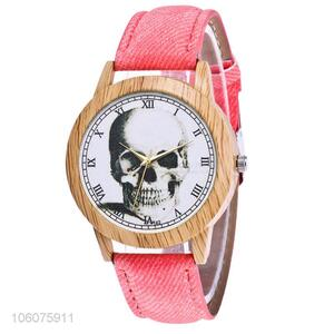 Best price ladies retro skull design canvas strap analog quartz wrist watch