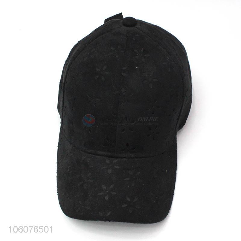 5cd7a86e04e Promotional custom 6 panel black suede baseball hat - Sellersunion Online