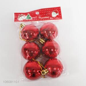 The fashion design 6pcs red shining plastic christmas ball