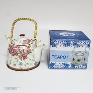 Custom Flower Pattern Ceramic Teapot With Handle
