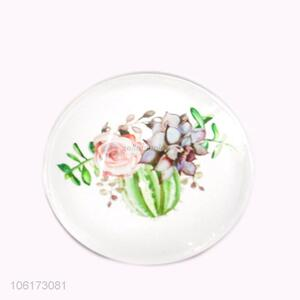 New products flower pattern round glass fridge magnet