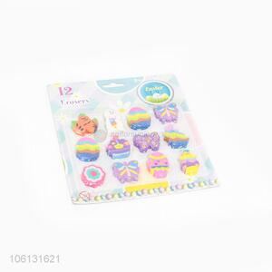 Cartoon Design 12 Pieces Colorful Eraser Cute Stationery