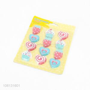 Cute Design 12 Pieces Colorful Eraser Fashion Stationery