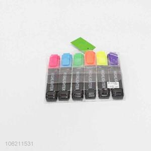 Best selling 6pcs colorful marker pen school highlighers