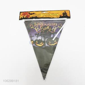 Wholesale Halloween decor pumpkin printing triangle flag pennant