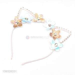 Wholesale Fashion Cute Cat Ears Hair Clasp With Flowers