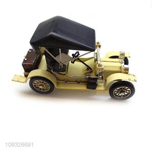 Lowest Price Metal Craft Yellow Vintage Car For Decoration