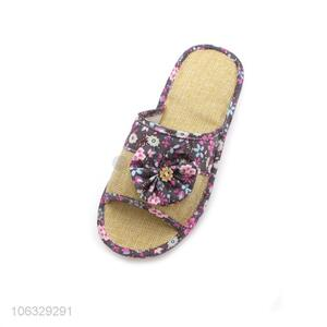 Best Sale Skin-Friendly Linen Lovely Fashion Slippers With Flowers