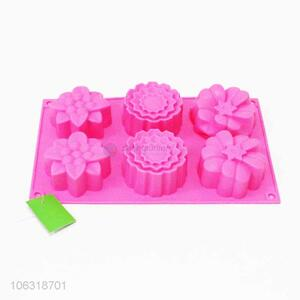 Good price 6 holes multi flower shape silicone cake mould