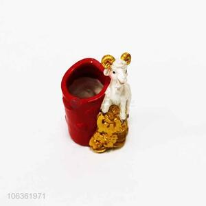 Wholesale resin craft sheep shaped pen container for office
