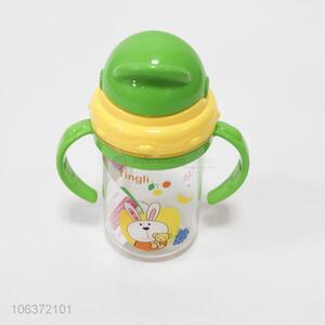 Contracted design plastic water bottle with double handles