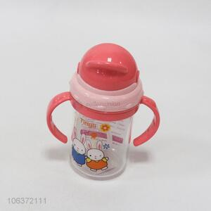 Best sale bunny printed children plastic water bottle with  straw