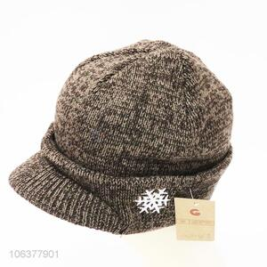 China supplier boys winter snowflake embroidered knitting hat
