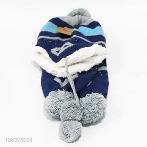 Good sale boys winter jacquard knitted hat and scarf set