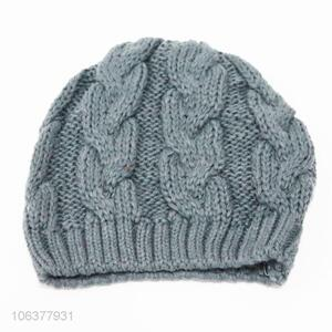 Top selling solid color acrylic knitted winter beanie hat
