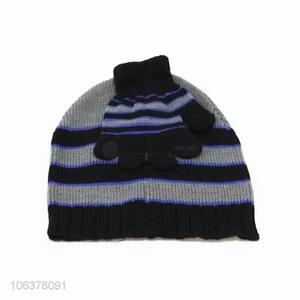 Hot selling boys winter striped knitted hat and gloves set