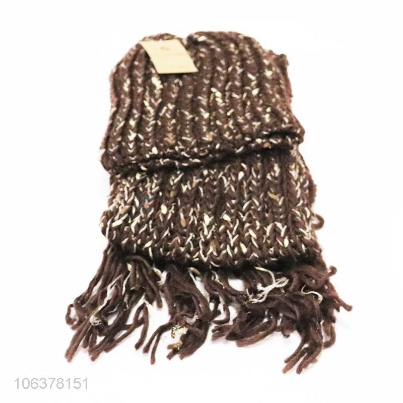 cf55a6264a4 Hot selling winter acrylic knitted hat and scarf set for women -  Sellersunion Online