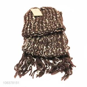 Hot selling winter acrylic knitted hat and scarf set for women