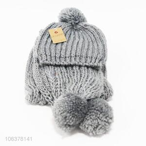 Low price popular winter knitted hat and scarf set for women
