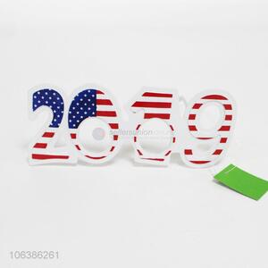 New arrival 2019 shaped american flag printed plastic party patch