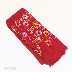 Hot Selling Red Fashion Design Long Women Polyester Scarf