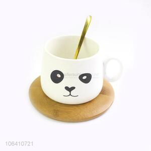 Suitable Price Ceramic Mug With Real Gold Spoon With Bamboo Coaster