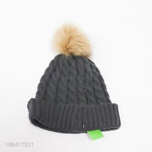 Promotional cheap women winter warm knitted hat with hair bulb