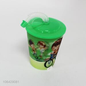 Factory supply cartoon printing plastic water cup with straw