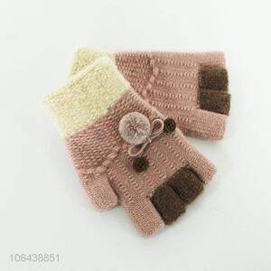 Hot products young girl winter half-finger knitting gloves