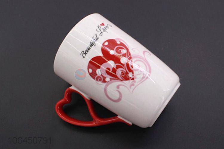 Unique Design Valentines Day Heart Shape Ceramic Couple Mug Cup
