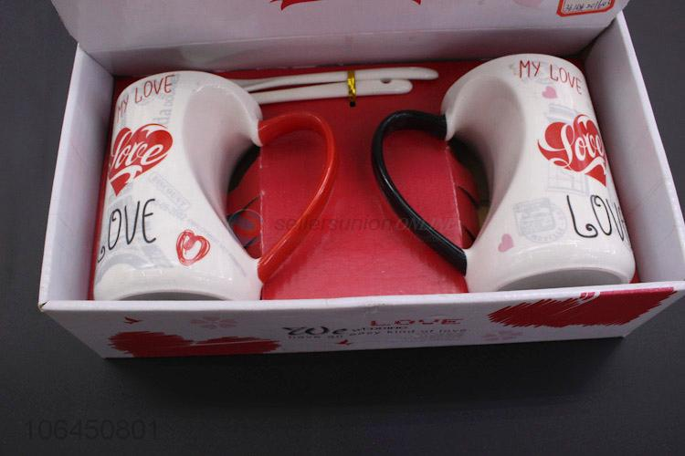 Wholesale Lover'S Couple Coffee Mugs Ceramic Mug Valentine Day Gift Cups And With Spoon