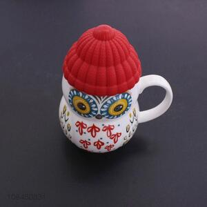 Wholesale Owl Cartoon Shaped Ceramic Coffee Cup With Lid