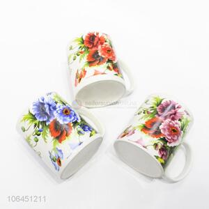 Promotional exquisite colorful flower pattern ceramic cup with handle