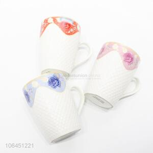Factory price flower decal embossed ceramic mug with handle