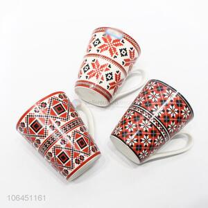Excellent quality snowflake decal ceramic mug with handle