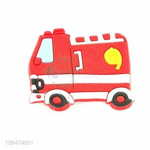 Promotional cartoon fire truck shaped silicone fridge magnet