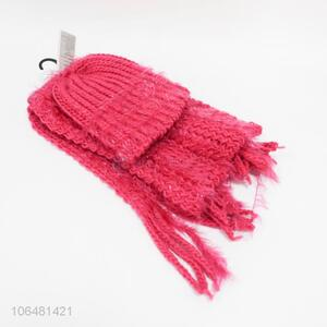 Low price women acrylic knitting hat and scarf set for winter