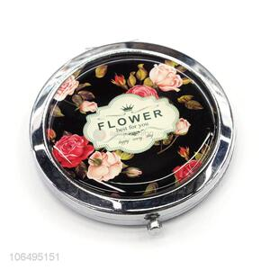New Arrival Creative Flowers Pattern Mini Pocket Compact Makeup Mirror