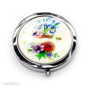 Custom Flowers Pattern Foldable Round Makeup Mirror Pocket Mirror