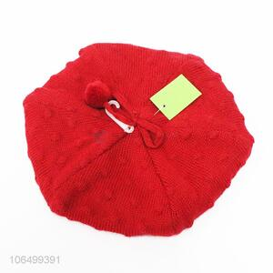 Hot sales ladies fashion winter acrylic knitting beret