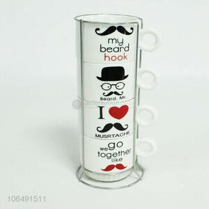Hot selling fashion moustache decal ceramic mug set