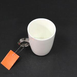New style blank ceramic cup ceramic mug with metal handle