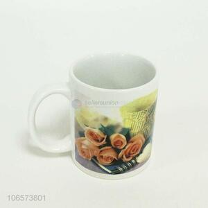 Exquisite fashion rose pattern ceramic mug ceramic mug