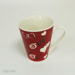 High quality popular heart pattern ceramic mug with handle