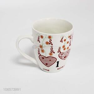 New products fashion heart pattern ceramic water cup