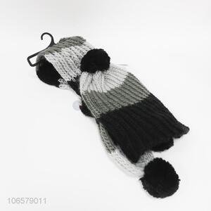 Low price simple design winter warm scarf and hat set