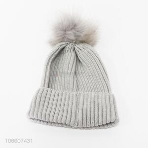 China supplier women simple knitting hat with pompom
