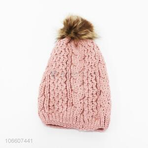 Wholesale ladies winter acrylic knitted hats with imitation fur ball