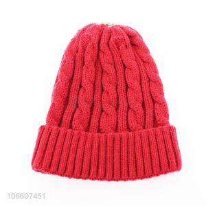 Classic design adults winter twisted knitted beanie hat