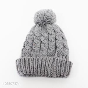 Promotional women winter outdoor twisted knitted beanie caps with pompom